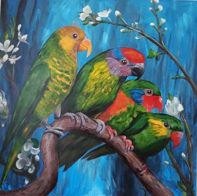 نقاشی اکریلیک پرنده