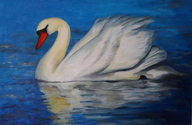 نقاشی اکریلیک قو