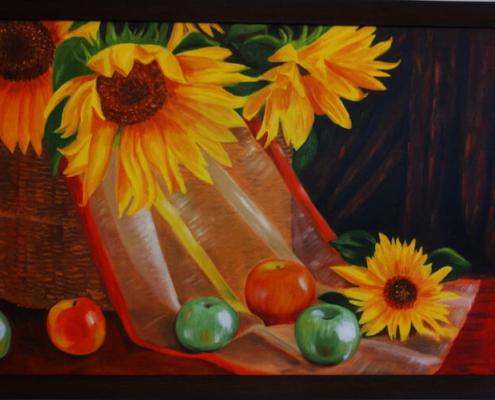 نقاشی رنگ روغن گل آفتابگردان