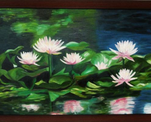 نقاشی رنگ روغن گل