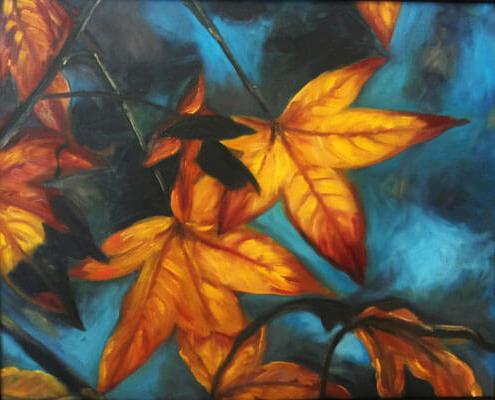 نقاشی رنگ روغن برگ